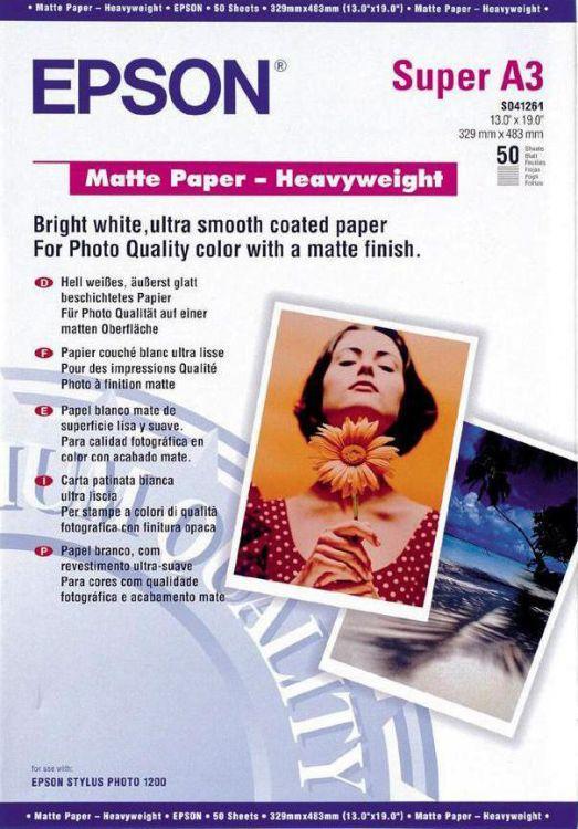 Плотная матовая бумага Epson Matte Paper-Heavyweight для печати фотоизображений A3 50 л. C13S041261 фото