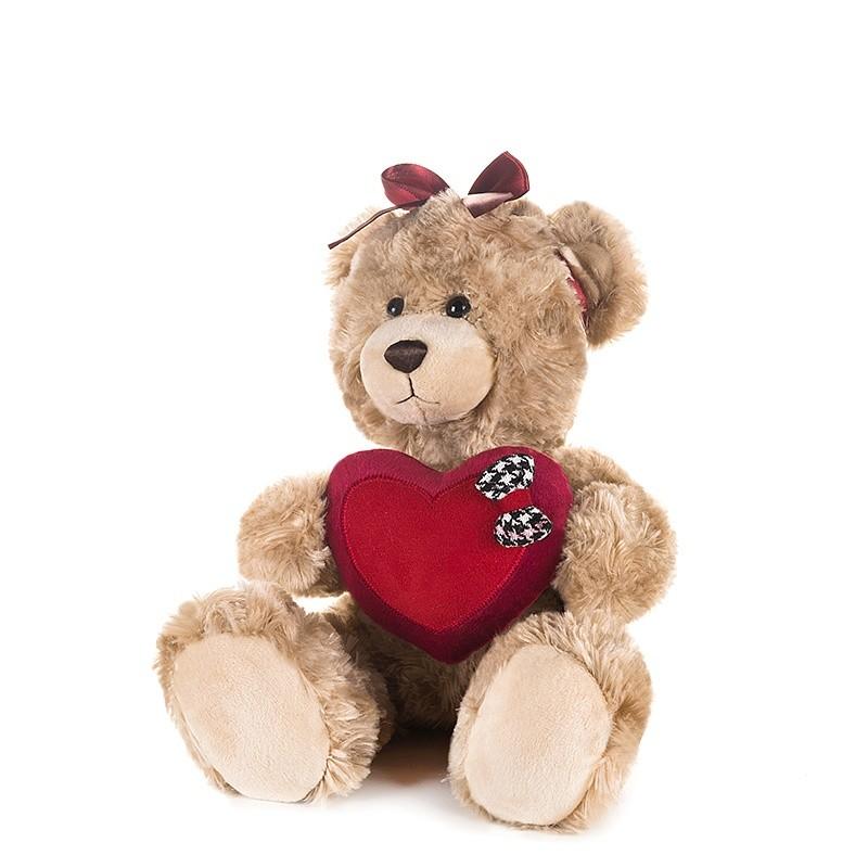 Купить Мягкая игрушка Мишка Моника с сердцем и бантиком на голове, 20 см [MT-GU092018-1-20], Maxitoys, Коричневый, Мягкие игрушки