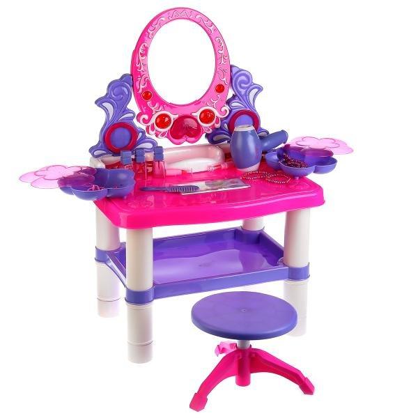 Купить SHANTOU Набор игровой Туалетный столик, с аксессуарами и стульчиком [Y2108231], пластик, Играем в салон красоты
