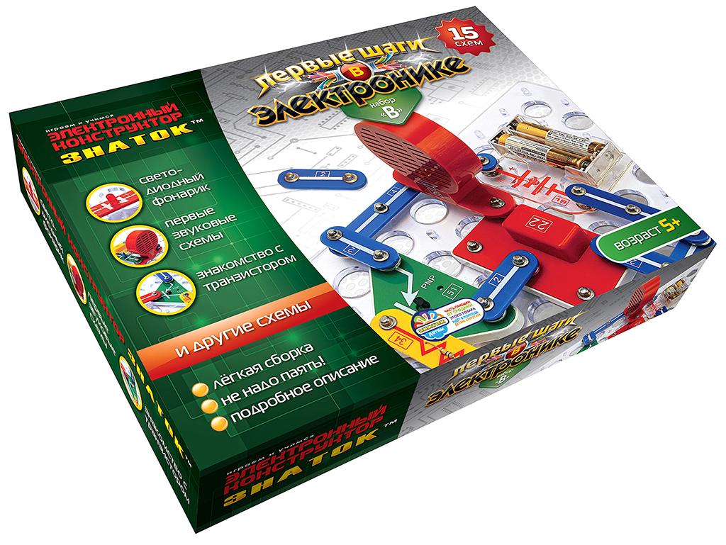 Купить Конструктор ЗНАТОК 15B-Znat Первые шаги в электронике B 15 схем , Пластик, металл, Для мальчиков и девочек, Китай, Конструкторы