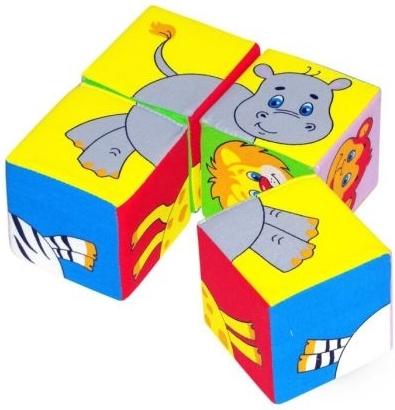 Купить МЯКИШИ Игрушка кубики Собери картинку (Животные Африки) 26*16*8 см [210F], Мякиши, Кубики для малышей