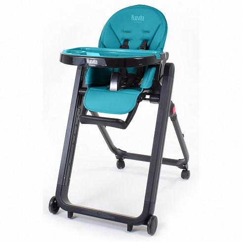Купить NUOVITA Стульчик для кормления Futuro Senso Nero , цвет: бирюзовый [P2 378], Бирюзовый, пластик, сталь, эко-кожа, Для мальчиков, Стульчики для кормления малышей