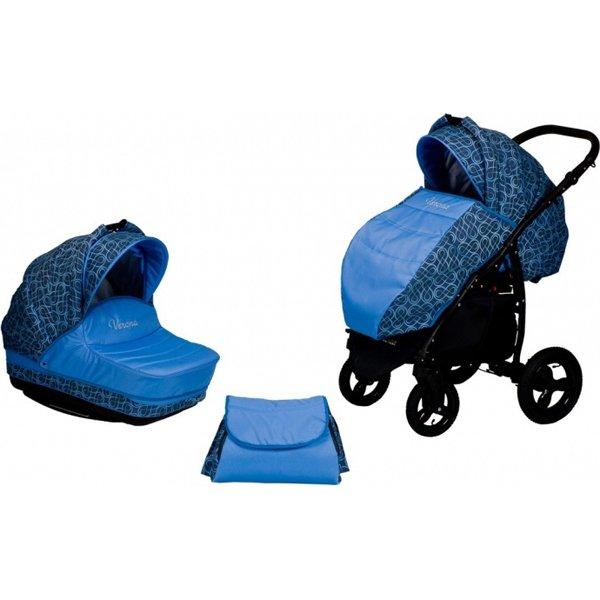 Купить BABY WORLD Коляска 2-в-1 Verona (цвет: синий) [00-00123931B], пластик, Металл, Текстиль, Детские коляски