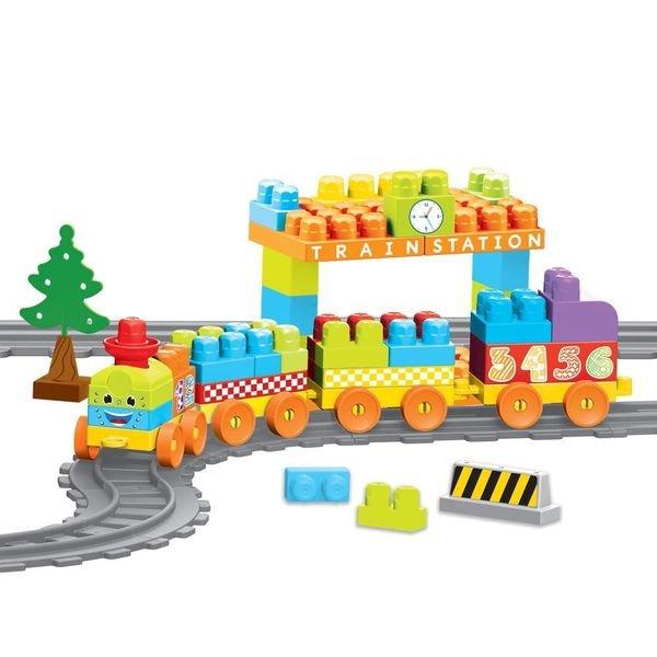 Купить DOLU Моя первая железная дорога с конструктором, 89 эл., 335 см [DL_5082], 91, 5 x 17 x 91, 5 см, Наборы игрушечных железных дорог, локомотивы, вагоны