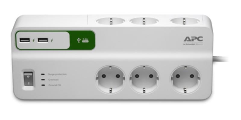 Купить Сетевой фильтр APC PM6U-RS 2м (6 розеток) белый, Белый