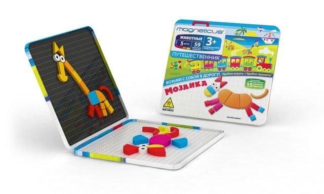 Купить MAGNETICUS Магнитная мозаика Magneticus Животные (59 элементов), Мозаика для детей