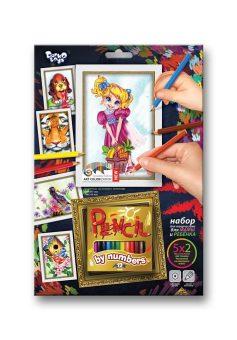 Купить ДАНКО-ТОЙС Набор для тв-ва раскраска карандашами по номерам Девочка [PBN-01-10], Danko toys, Украина, Раскраски