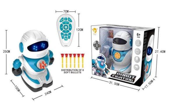 Купить НАША ИГРУШКА Робот р/у, свет, звук, стреляет пульками, эл.пит.не вх.в комплект [SPA991190M-W], пластик, Игрушечные роботы и трансформеры