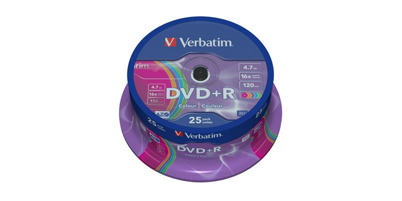 Диск DVD+R Verbatim 4.7Gb 16x AZO colour surface Cake Box (25шт) 43733
