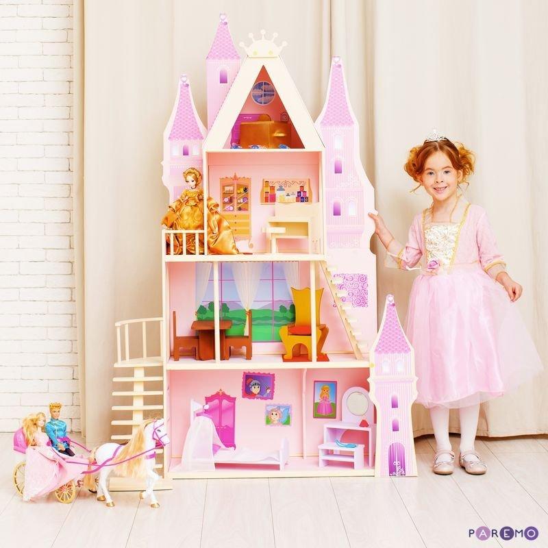 Купить PAREMO Кукольный дворец Розовый сапфир с 16 предметами мебели и текстилем [PD316-05], розовый, 70 x 30 x 139 см, Дерево, Текстиль, МДФ, Кукольные домики