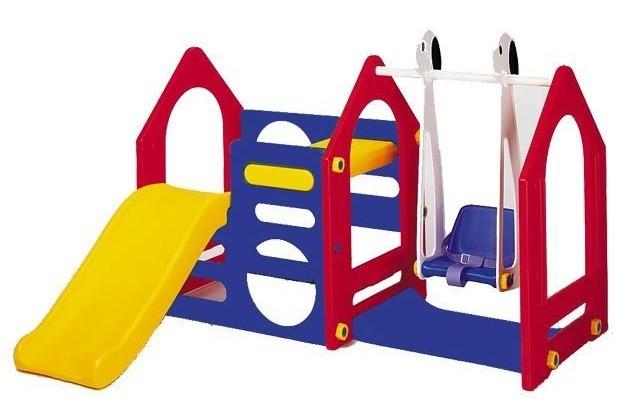 Купить HAENIM TOY Игровой центр DS-702А Дом с горкой и качели , [DS-702A], пластик, Игровые и спортивные комплексы и горки