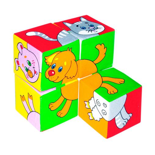 Купить Кубики МЯКИШИ 209 Собери картинку Домашние животные, Мякиши, 100% х/б ткань, поролон, Для мальчиков и девочек, Россия, Кубики для малышей