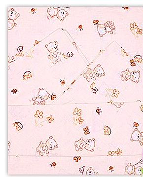 Купить ОСЬМИНОЖКА Комплект постельного белья, 3 предмета (простыня на резинке, цвет: бежевый) [41К/Р], Бежевый, Хлопок, Россия, Постельное белье для малышей