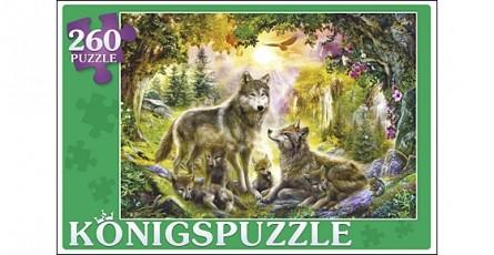 Купить KÖNIGSPUZZLE Пазлы Konigspuzzle. Семья волков , 260 элементов [ПК260-5863], Картон