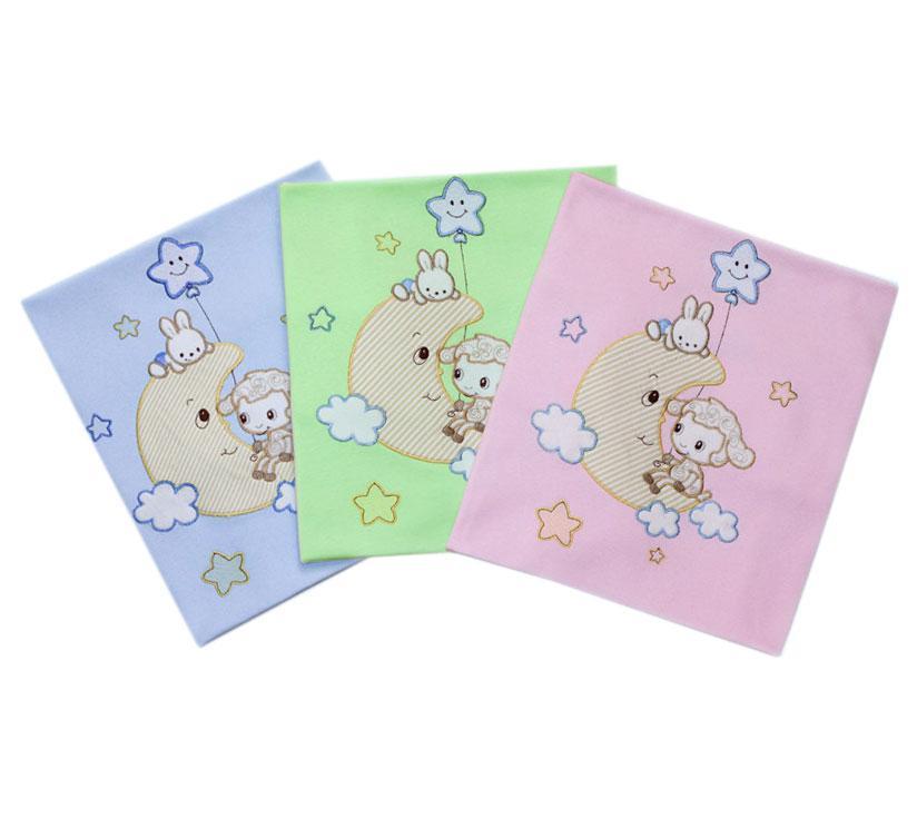 Купить 12350232, LITTLE PEOPLE Плед трикотажный с аппликацией голубой, [30002], Покрывала, подушки, одеяла для малышей