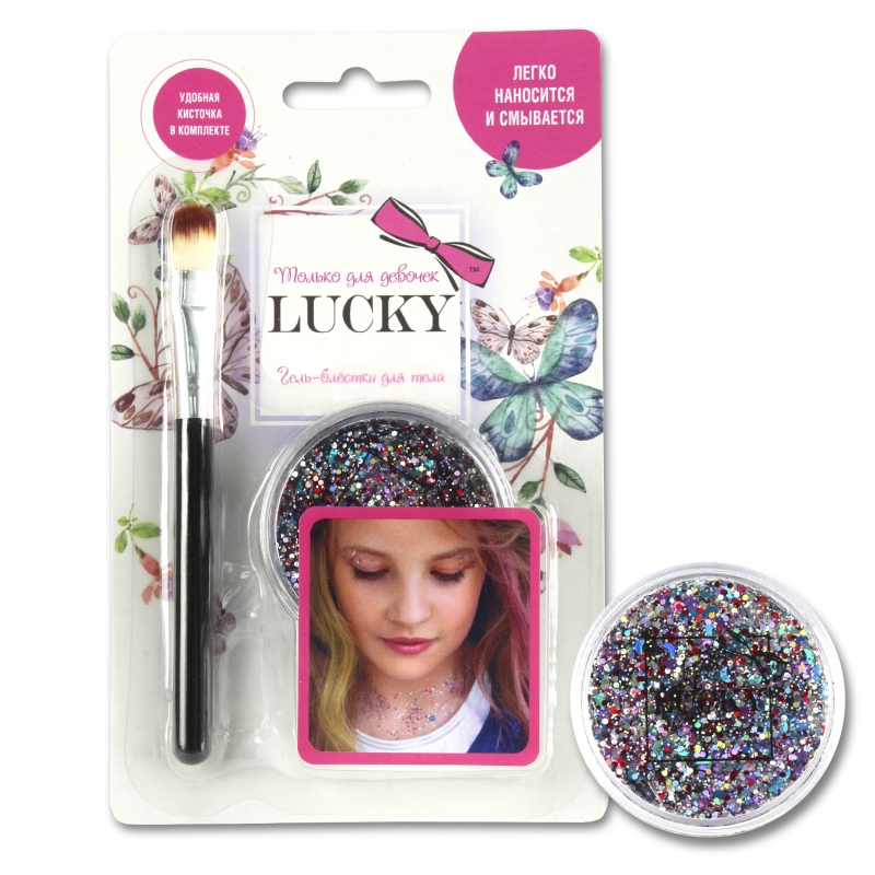 Купить Lucky гель-блестки д тела/лица, в наборе с кисточкой, цвет: конфетти, на блистере [Т11927], Disney