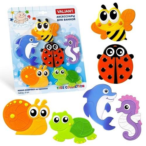 Купить VALIANT Набор мини-ковриков Валиантики , 6 штук [MIX6S12], PVC, Детские игрушки для ванной