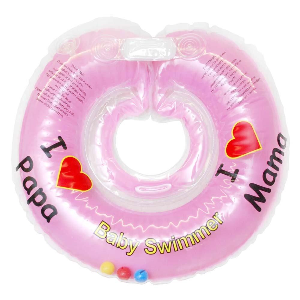 Купить BS12А-B, BABY SWIMMER Круг розовый (полуцвет + внутри погремушка) 0-36 мес, Китай, Круги на шею для купания малышей