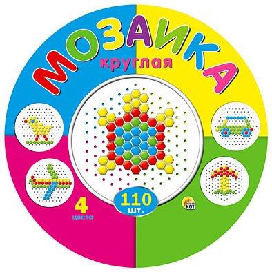 Купить РЫЖИЙ КОТ Мозаика круглая, 110 штук [М-5656], Мозаика для детей