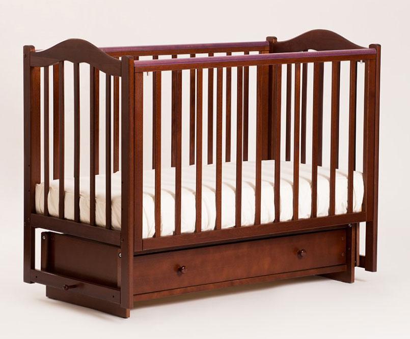 Купить 12359487, КУБАНЬЛЕССТРОЙ Кроватка БИ 37.2 Кубаночка-1 с ящиком, c маятником, орех темный [БИ 37.2], Кроватки детские