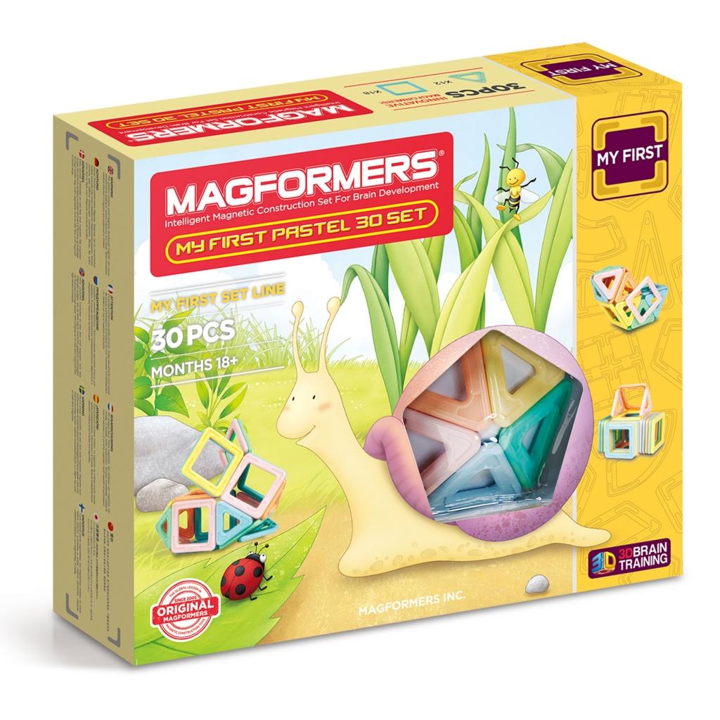 Купить Магнитный конструктор MAGFORMERS 702013 My First Pastel Set 30, пластик, магнит, Для мальчиков и девочек, Китай, Конструкторы