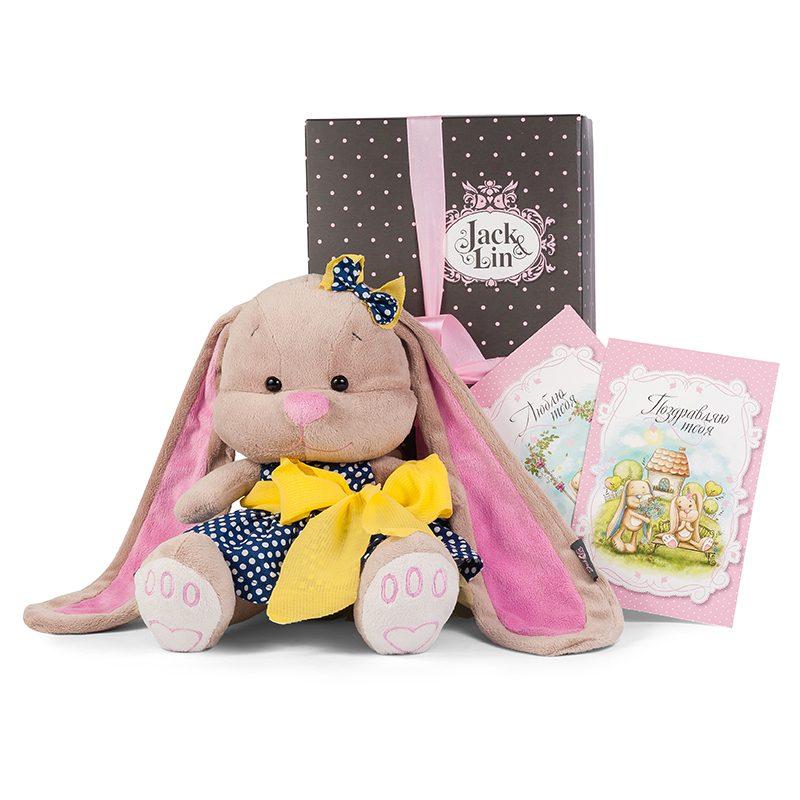 Купить JACK LIN Мягкая игрушка Зайка Лин в синем платье , 25 см [JL-024-25-КСО], Искусственный мех, трикотаж, Для мальчиков и девочек, Мягкие игрушки