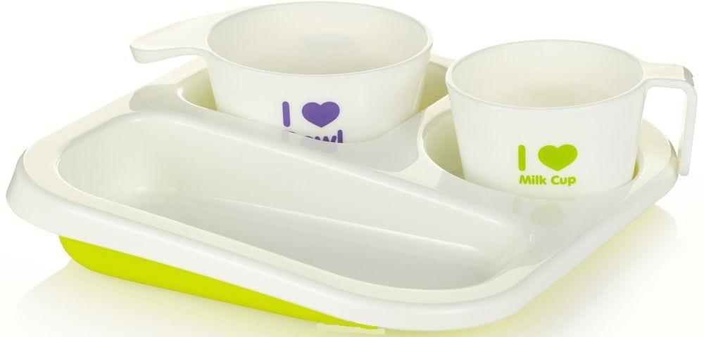 Купить FARLIN Набор посуды для кормления, 3 предмета, цвет: салатовый [AH-20009], полипропилен, Посуда для малышей