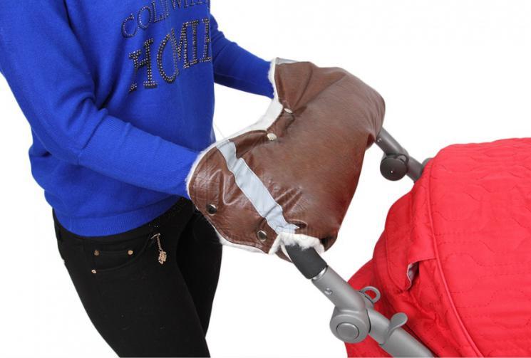 Купить 12358602, ГЕРАСИМОВА Муфта для рук на ручку коляски (30%шерсть)+СВЕТООТРАЖАТЕЛЬ ЭКО Кожа, [253 коричневый кожа], Герасимова, Аксессуары для колясок и автокресел