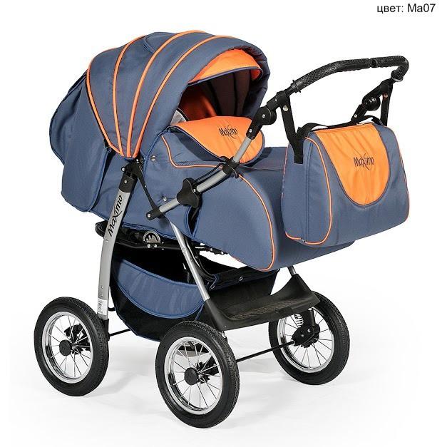 Купить INDIGO Коляска прогулочная Indigo Maximo (цвет: темный графит/оранжевый) [УТ0002046], оранжевый, Графит, пластик, Металл, Текстиль, Детские коляски