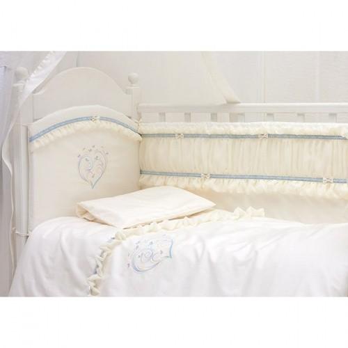 Купить MAKKARONI KIDS Комплект в детскую кроватку Makkaroni Kids Нежность (цвет: голубой) [00-0014147], 100% полиэстер/ 100% хлопок, Для мальчиков, Постельное белье для малышей