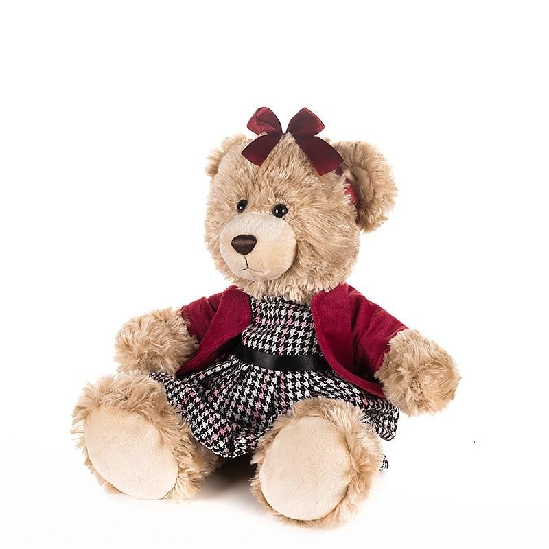Купить MAXITOYS Мягкая игрушка Мишка Моника в красном жакете и клетчатом платье, 20 см [MT-GU092018-4-20], Коричневый, Мягкие игрушки