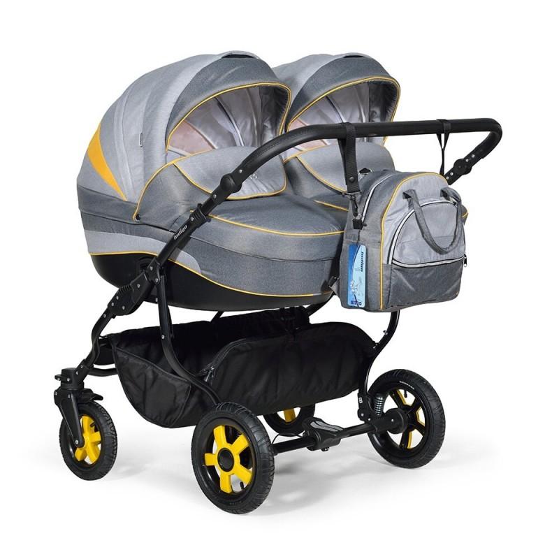Купить INDIGO Коляска для двойни Indigo Duo 18 (цвет: светло-серый/темно-серый/желтый) [УТ0009159], Желтый, Темно-серый, светло-серый, пластик, Металл, Текстиль, Детские коляски