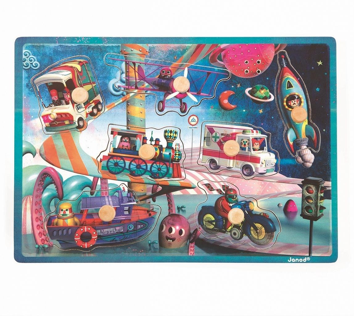 Купить Рамка-вкладыш JANOD J07073 Космический транспорт (звук), Дерево, Для мальчиков и девочек, Пазлы