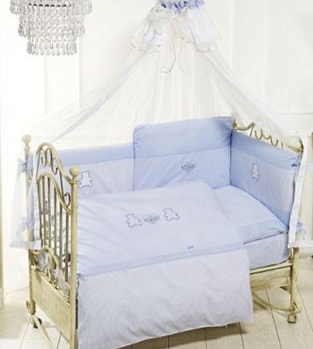 Купить FERETTI Комплект для кроватки Orsetti Long (цвет: blue, 6 предметов) [00-0013971], Голубой, 100% полиэстер/ 100% хлопок, Для мальчиков и девочек, Постельное белье для малышей