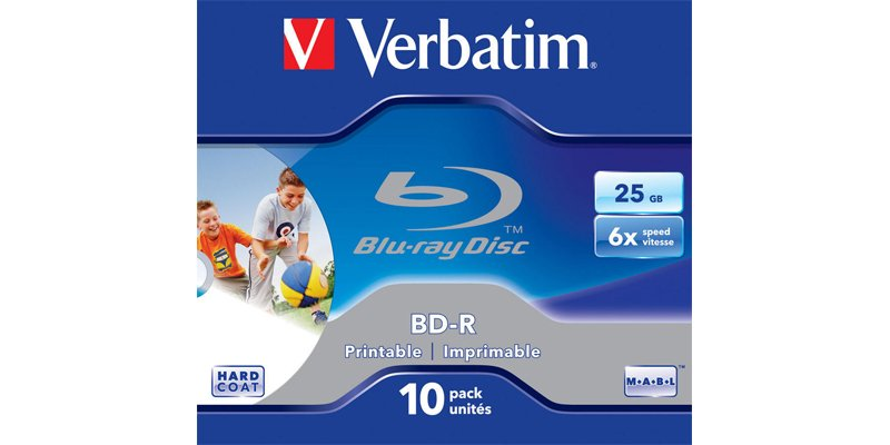Диск BD-R Verbatim 25Gb 6x Printable Surface Scratchguard+ Jewel Case (10шт) 43713