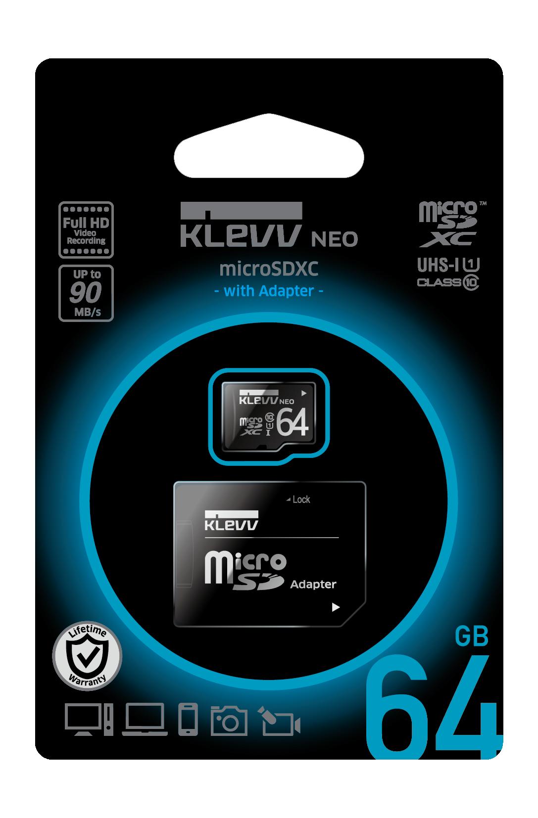 Карта памяти Klevv microSDHC NEO 64GB CL10 U1с адаптером
