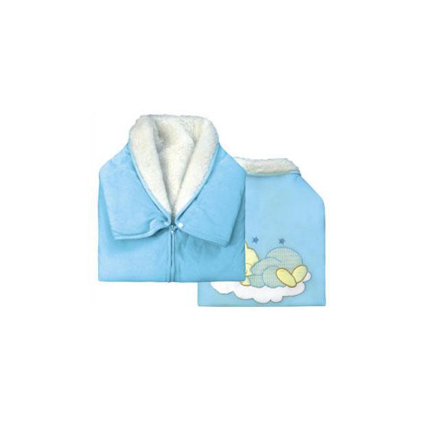 Купить 12346426, ЗОЛОТОЙ ГУСЬ Плед - конверт мех-велюр голубой, [30022], Покрывала, подушки, одеяла для малышей