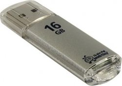 Флеш Диск 16GB USB 2.0 Flash Drive Smartbuy V-Cut Silver SB16GBVC-S