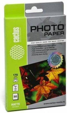 Фотобумага Cactus CS-MA617050 матовая A6/170г/м2 50 листов для струйной печати