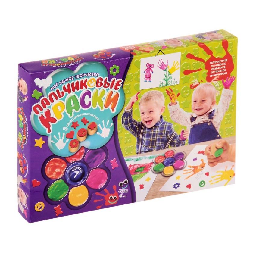 Купить DANKO TOYS Пальчиковая раскраска Моё первое творчество , 7 цветов, набор 1 [PK-01-01], Украина, Раскраски