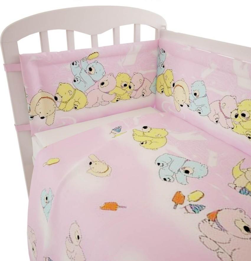 Купить ФЕЯ Комплект в кроватку Мишки (цвет: розовый, 6 предметов) [0001063-2], Хлопок, Для девочек, Постельное белье для малышей