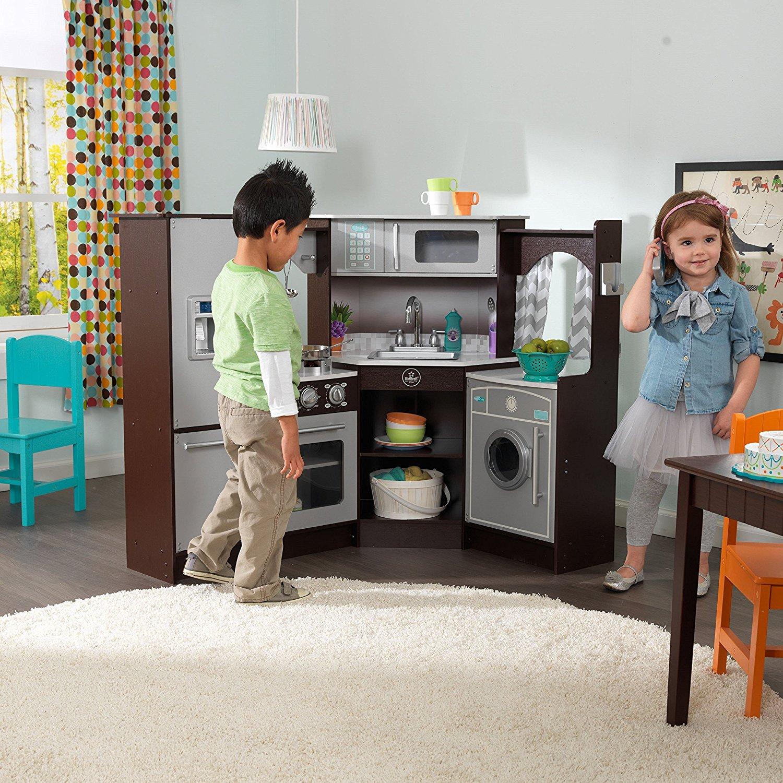 Купить KIDKRAFT Большая детская игровая кухня «Эспрессо-Интерактив», угловая [53365_KE], 108 x 83 x 93 см, пластик, Дерево, Детские кухни и бытовая техника
