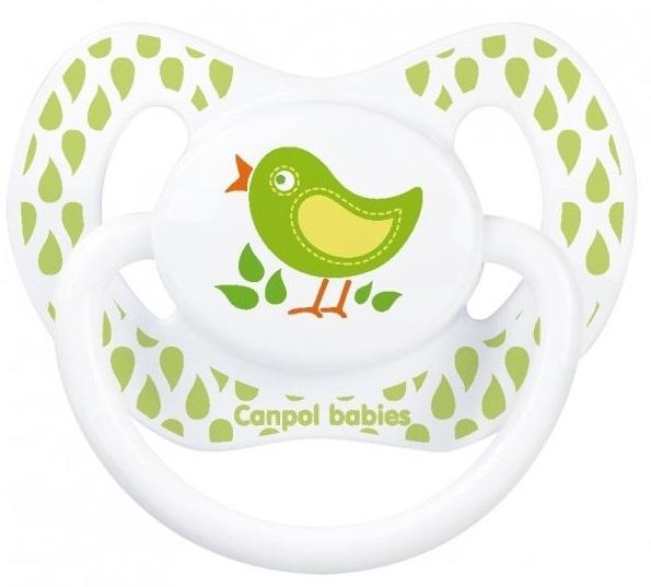 CANPOL Пустышка анатомическая силиконовая Summertime , рисунок: птичка (6-18 месяцев) [250930389], зеленый, белый, Силикон, пищевой пластик, Пустышки и аксессуары  - купить со скидкой