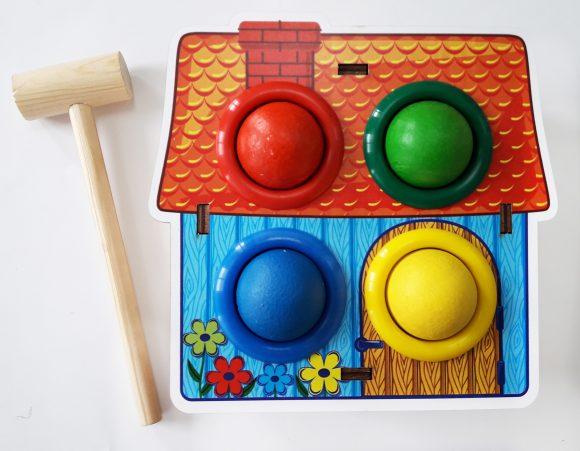 Купить WOODLAND Стучалка цветная Домик [115308], Дерево, Развивающие игрушки для малышей