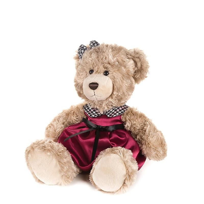 Купить MAXITOYS Мягкая игрушка Мишка Моника в красном платье с клетчатым воротничком , 20 см [MT-GU092018-2-20], Бежевый, Мягкие игрушки