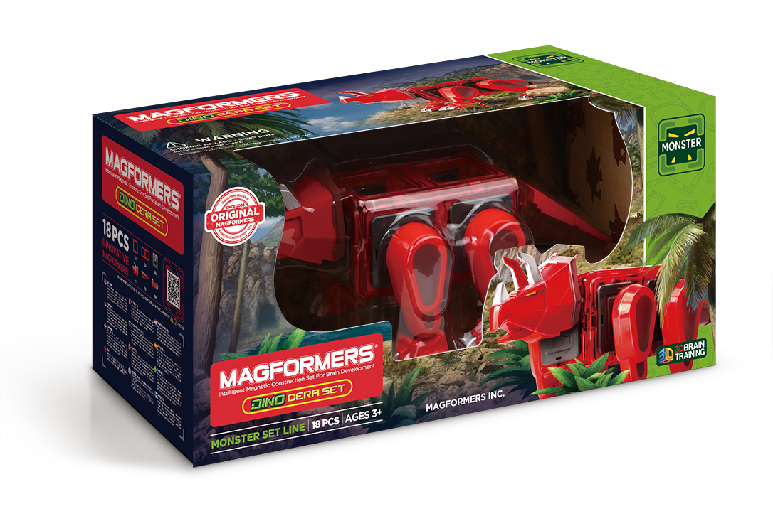Купить Магнитный конструктор MAGFORMERS 716002 Dino Cera set, пластик, магнит, Для мальчиков и девочек, Китай, Конструкторы