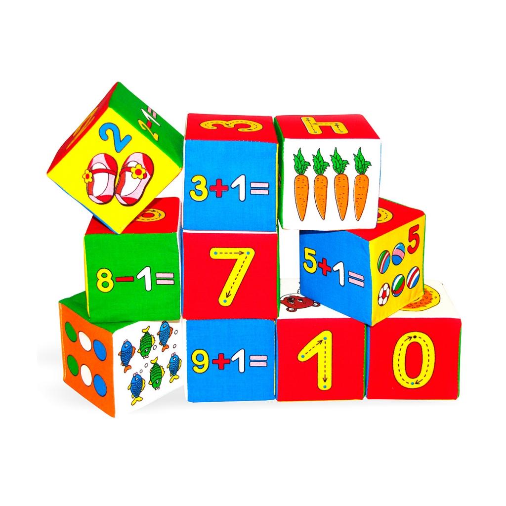 Купить Кубики МЯКИШИ 177 Умная математика, Мякиши, 100% х/б ткань, поролон, Для мальчиков и девочек, Россия, Кубики для малышей