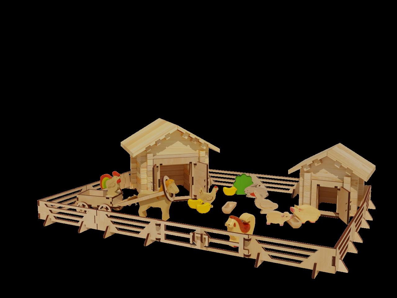 Купить Конструктор ЛЕСОВИЧОК les 023 Ферма №2 набор из 135 деталей, Дерево, Для мальчиков и девочек, Россия, Конструкторы