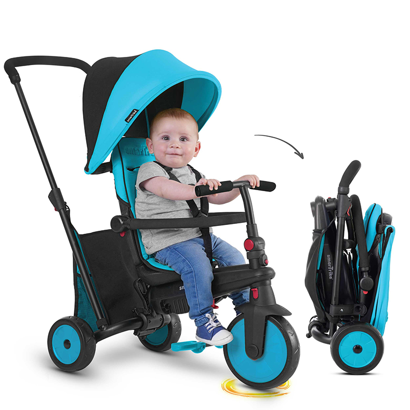 Коляска SMART TRIKE ST-0818300-2 Голубой, пластик, Металл, Текстиль, Для мальчиков и девочек, Китай, Велосипеды для взрослых и детей  - купить со скидкой