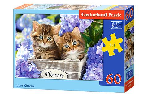 Купить КАСТОР Puzzle-60 MIDI Милые котята [В-066087], Картон, Пазлы
